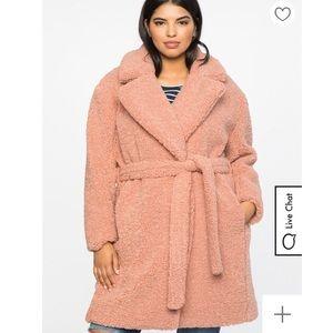 Eloquii boucle teddy coat